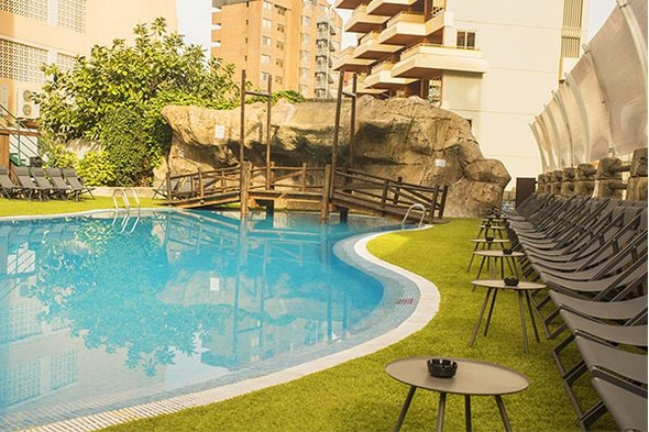 Outdoor swimming pool benidorm celebrations ™ music resort (adults only) apartments